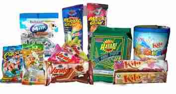 Produk makanan ringan, snack, biskuit, dan permen